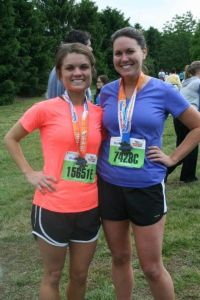 Also, I only have like two pictures from the actual half-marathon this year and neither are worth posting.  So here is a photo of Jessica and I after the half-marathon last year